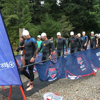 "First group of men entering the ""shoot"" for the half iron distance swim"
