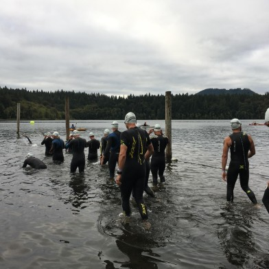 Assembling for the first wave of the half iron distance swim