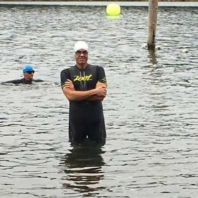 Jeremy prepared for the half iron distance swim