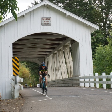 Larwood Bridge, official turnaround point on the Half Iron bike course